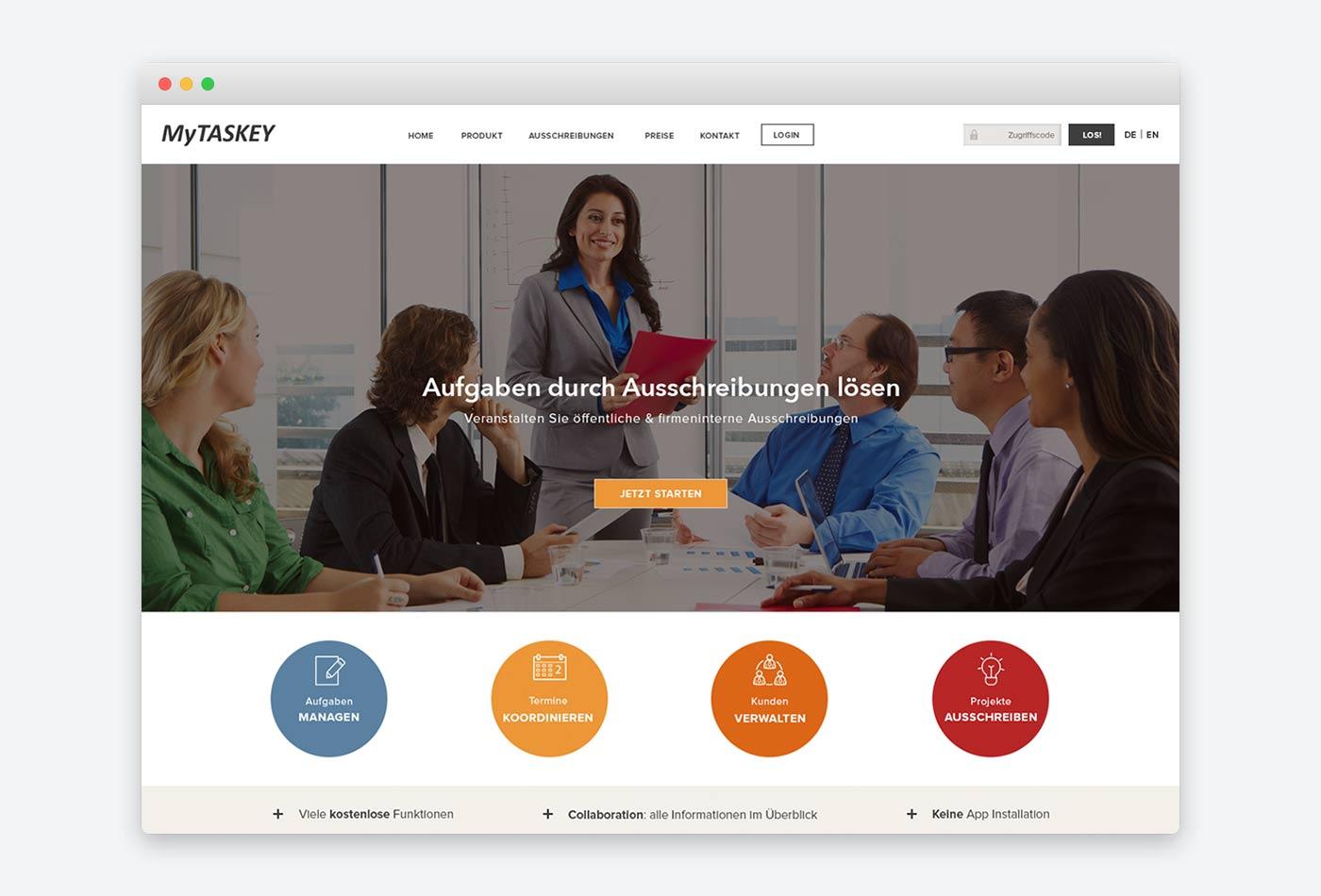 Webdesign für Webanwendung