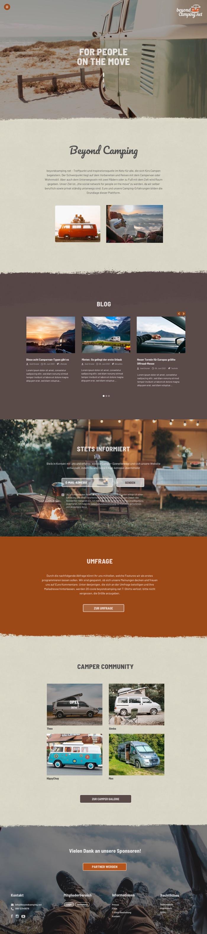 Webdesign München für Camping Lifestyle Portal