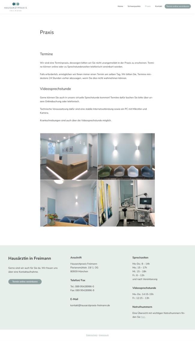 Webdesign München für Hausärztin in München Freimann